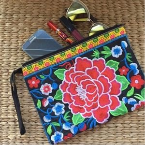 Red Pua Blossoms Embroidered Clutch Wristlet